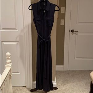 TALBOTS navy maxi dress with tie